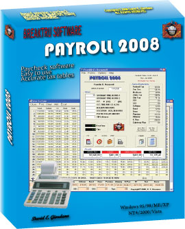 PAYROLL 2008 - payroll, software, pay,  Print pay checks, withholding, tax, paycheck, check - Calculate withholding tax or do a small business payroll.  Print pay checks